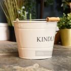 Cream Kindling Bucket in living room