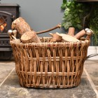 Wcker log holder fireside storage