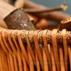 Detailed image of wicker on log basket