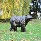 Bear Cub Antique Bronze Garden Sculpture in Situ in the Garden