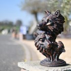 Cast Iron Wolf Heads Bust in Situ