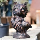 Wolf Head Outdoor Sculpture Finished in an Antique Bronze
