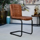 Iron & Buffalo Leather Dining Chair in full