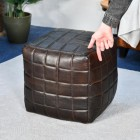 Brown Goat Leather Square Pouffe