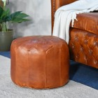 Round Leather Tan Pouffe in Full