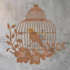 Bird Cage Wall Art in Situ on a Rustic Brick Wall