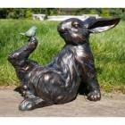 Bird Sitting on Rabbit Garden Sculpture in  an Antique Bronze Finish