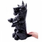 Black Cast Iron Life-size Sitting Dog Door Stop