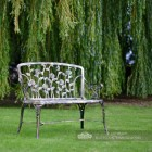 Black and Bronze Rose Design Garden Bench