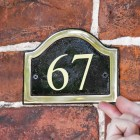 Arched Number Sign Finished in a Black & Brass with Gold Vinyl Numbers