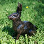 Black & Brown Sitting Rabbit Garden Ornament