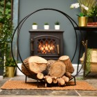 """Harewood Park"" Contemporary Wrought Iron Log Holder in Situ Next to the Fireplace"