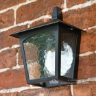 Black Flush Porch Lantern With E27 Bulb Holder