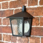 Black Flush Wall Lantern With Frosted Glass