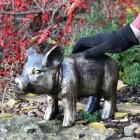 Black & Gold Piglet Garden Sculpture to Scale