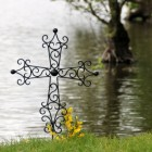 """""""St Peter"""" Wrought Iron Scroll Design Grave Marker"""