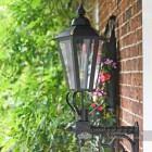 Black Hexagonal Lantern and Cast Scolled Bracket