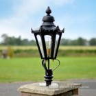 Black Hexagonal Pillar Light and Lantern Set 76cm