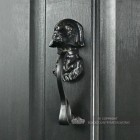 Black Iron Effect Dog Door Knocker On Front Door