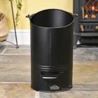 Black Modern Simplistic Coal Hod In Living Room Setting