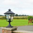 Black Simplistic Victorian Pillar Light On Stone Entrance Post