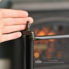 Black Square Three Fold Fire Guard Cloes Up