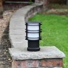 Black Steel Low Level Bollard Light in Situ on Brick Pillar