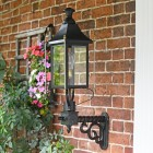 Black Victorian Wall Light With Brass Bar Decoration