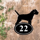 Border Terrier Iron House Number Sign in Situ on a Rustic Wall