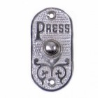 """Bright Chrome Bell Push with ornate design and script """"PRESS"""""""