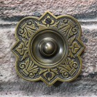 Antique Brass Period Door Bell on brick Wall