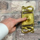 """Maytree Avenue"" Polished Brass Swirl Pattern Bell Push to Scale"