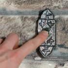 'Adie Amus' Bright Chrome Antique Gothic Bell Push to Scale