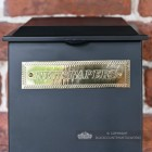 Brass Newspapers Plaque On Black Parcel Box