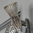 Bright Chrome Fish Door Knocker Close Up