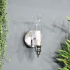 Old Style Gas Lamp Bathroom Wall Light Finished in a Bright Chrome