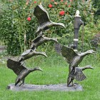 Side View of the Bronze Finish Flying Duck Sculpture