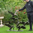 Bronze Finish Flying Duck Sculpture to Scale