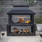 Wood Burner and Log Store in Bronze Finish