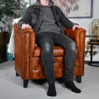 Brown Leather Traditional Arm Chair to Scale