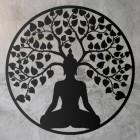 """Buddha Tree"" Wall Art on a Rustic Wall"
