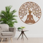 """Buddha Tree"" Rustic Wall Art in a Modern Sitting Room"
