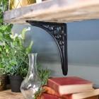 Black Shelf Bracket in Situ Holding up a Wooden Shelf