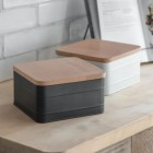 White Cake Tin with Beech Wood Lid in Situ