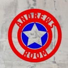'Captain America' Personalised Wall Art on a Rustic Wall