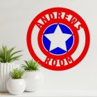 'Captain America' Personalised Wall Art on a White Wall