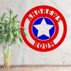 'Captain America' Personalised Wall Art Finished in Blue and Red