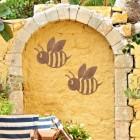 Rustic 'Cartoon Bee' Wall Art Outdoors