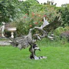 Cast Aluminium Eagles Fighting Sculpture Finished in a Bronze Finish