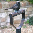 Cast Iron Bird Sitting On Pitch Folk Garden Ornament